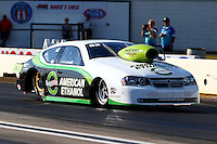Aug. 16, 2013; Brainerd, MN, USA: NHRA pro stock driver Deric Kramer during qualifying for the Lucas Oil Nationals at Brainerd International Raceway. Mandatory Credit: Mark J. Rebilas-