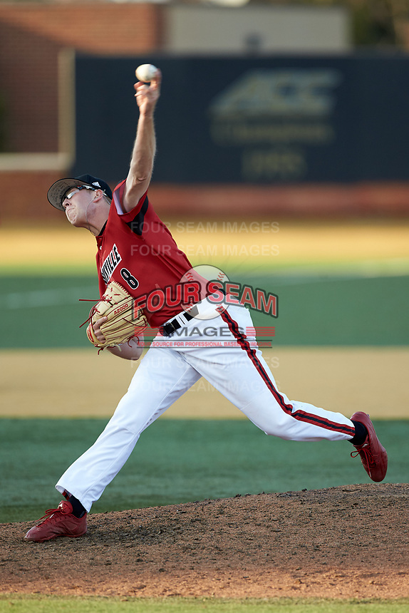 Louisville Cardinals relief pitcher Nick Bennett (8) delivers a pitch to the plate against the Wake Forest Demon Deacons at David F. Couch Ballpark on March 17, 2018 in  Winston-Salem, North Carolina.  The Cardinals defeated the Demon Deacons 11-6.  (Brian Westerholt/Four Seam Images)