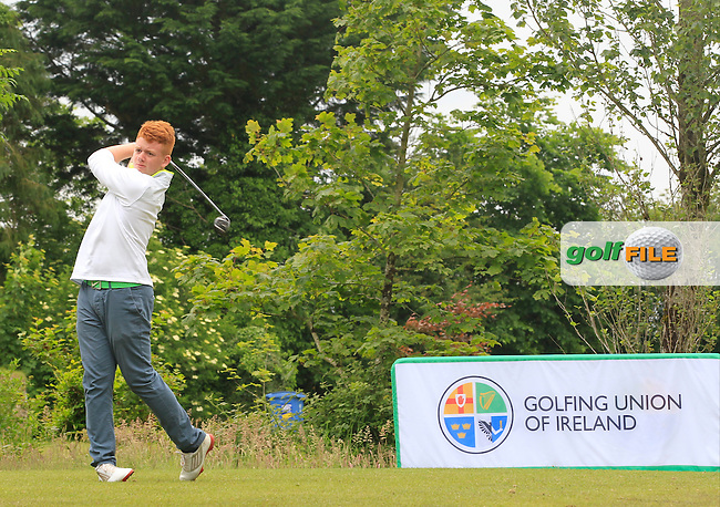 Ross Nelson (Belvoir Park) on the 9th tee during Round 3 of the Irish Boys Amateur Open Championship at Tuam Golf Club on Thursday 25th June 2015.<br /> Picture:  Thos Caffrey / www.golffile.ie
