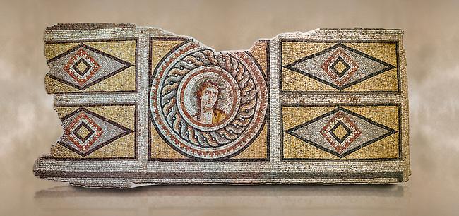 Roman mosaics - Dionysus Portrait Mosaic. Okeanos Villa, Ancient Zeugama, 2nd - 3rd century AD . Zeugma Mosaic Museum, Gaziantep, Turkey.   Against an art background.