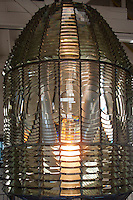 The Fresnel (the 's' is silent) lens displayed in the fog signal building at Pigeon Point Lighthouse after being dismanteled, removed from the lighthouse, refurbished then reassembled.