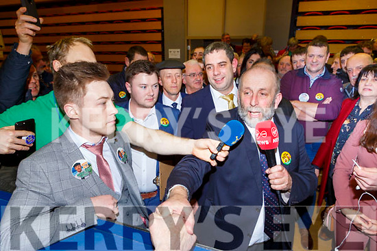 Danny Healy Rae celebrates after he was elected at the count in Killarney on Monday evening