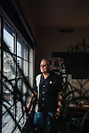 Eric Overmyer poses for a portrait in his office at the Red Studios lot where the television show Bosch is filmed in Los Angeles, California January 10, 2016.