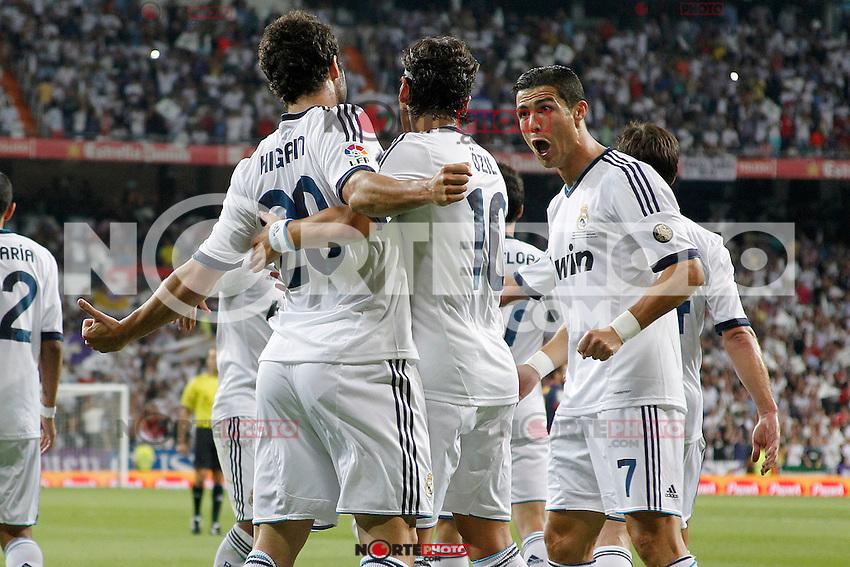Real Madrid's Gonzalo Higuain goal during Spanish Supercup 2nd match on august 29 2012...Photo: Alex Cid-Fuentes / ALFAQUI /NortePhoto.com<br /> <br /> **CREDITO*OBLIGATORIO** <br /> *No*Venta*A*Terceros*<br /> *No*Sale*So*third*<br /> *** No*Se*Permite*Hacer*Archivo**<br /> *No*Sale*So*third*