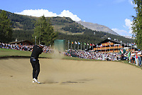 Mike Lorenzo-Vera (FRA) plays his 2nd shot on the 18th hole and lands in the water during Sunday's Final Round 4 of the 2018 Omega European Masters, held at the Golf Club Crans-Sur-Sierre, Crans Montana, Switzerland. 9th September 2018.<br /> Picture: Eoin Clarke | Golffile<br /> <br /> <br /> All photos usage must carry mandatory copyright credit (© Golffile | Eoin Clarke)