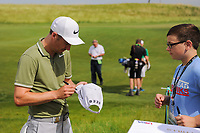 Ross Fisher (ENG) signs autographs for fans between 16 and 17 during the Wednesday practice day of the 117th U.S. Open, at Erin Hills, Erin, Wisconsin. 6/14/2017.<br /> Picture: Golffile | Ken Murray<br /> <br /> <br /> All photo usage must carry mandatory copyright credit (&copy; Golffile | Ken Murray)