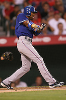 08/16/11 Anaheim, CA: Texas Rangers center fielder Endy Chavez #9 during an MLB game played between the Texas Rangers and the Los Angeles Angels at Angel Stadium. The Rangers defeated the Angels 7-3.
