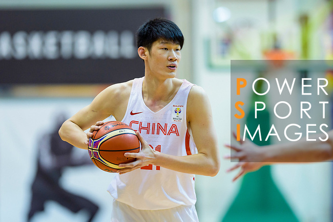 Jinqiu Hu of China in action during the FIBA Basketball World Cup 2019 Asian Qualifier Group A match between Hong Kong and China at Southorn Stadium on February 26, 2018 in Hong Kong. Photo by Marcio Rodrigo Machado / Power Sport Images