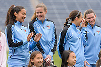 Bridgeview, IL, USA - Sunday, May 1, 2016: Chicago Red Stars forward Christen Press (23), goalkeeper Alyssa Naeher (1), forward Jennifer Hoy (2), and Arin Gilliland (3) before a regular season National Women's Soccer League match between the Chicago Red Stars and the Orlando Pride at Toyota Park. Chicago won 1-0.