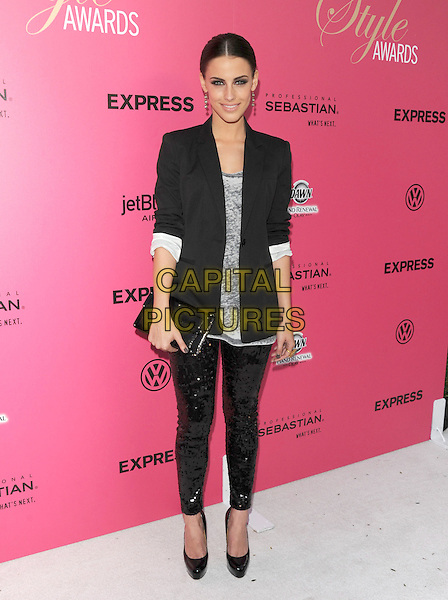 JESSICA LOWNDES .at The 6th Annual Hollywood Style Awards held at The Armand Hammer Museum in Los Angeles, California, USA, October 11th 2009                                                                   full length black blazer jacket sequined sequin leggings clutch bag boyfriend patent shoes grey gray top sleeves rolled up .CAP/DVS.©DVS/RockinExposures/Capital Pictures.