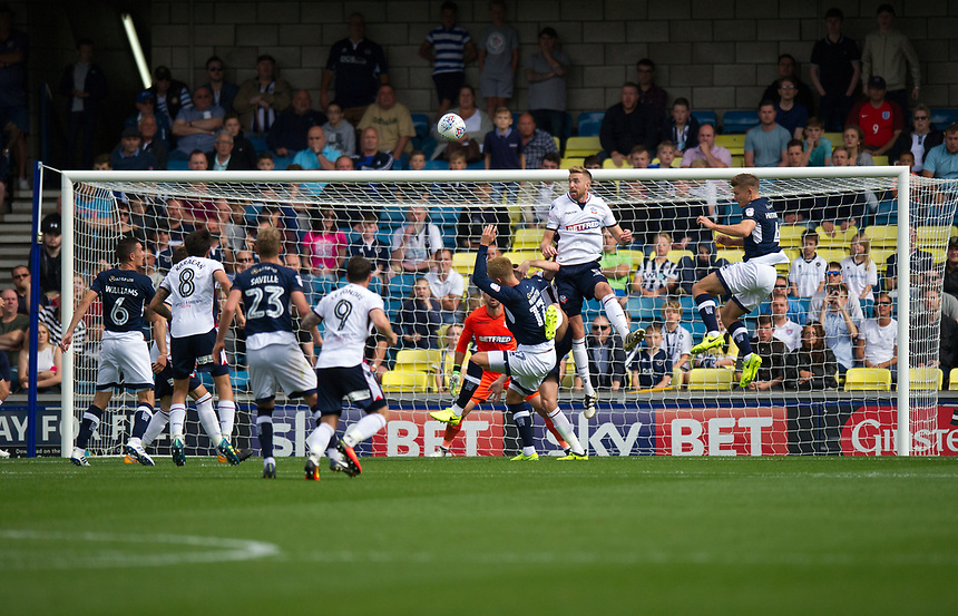 Bolton Wanderers' Mark Beevers clears the ball<br /> <br /> Photographer Ashley Western/CameraSport<br /> <br /> The EFL Sky Bet Championship - Millwall v Bolton Wanderers - Saturday August 12th 2017 - The Den - London<br /> <br /> World Copyright &not;&copy; 2017 CameraSport. All rights reserved. 43 Linden Ave. Countesthorpe. Leicester. England. LE8 5PG - Tel: +44 (0) 116 277 4147 - admin@camerasport.com - www.camerasport.com