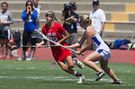 Torrance, CA 05/11/13 - Caitlin Derry (Los Alamitos #12) and Talia Fiance (Agoura #7) during the 2013 Los Angeles/Orange County Championship game between Los Alamitos and Agoura.  Los Alamitos defeated Agoura 19-4.