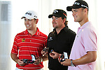 Louis Oosthuizen, Graeme McDowell and Martin Kaymer each presented with honourary lifetime membership of the European Tour during Practice Day 1 of the Dubai World Championship, Earth Course, Jumeirah Golf Estates, Dubai, 23rd November 2010..(Picture Eoin Clarke/www.golffile.ie)