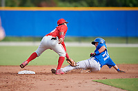 Philadelphia Phillies second baseman Brayan Gonzalez (38) puts the tag on a runner during an Instructional League game against the Toronto Blue Jays on October 7, 2017 at the Englebert Complex in Dunedin, Florida.  (Mike Janes/Four Seam Images)