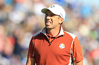 Sergio Garcia (Team Europe) on the 9th green during Saturday Foursomes at the Ryder Cup, Le Golf National, Ile-de-France, France. 29/09/2018.<br /> Picture Thos Caffrey / Golffile.ie<br /> <br /> All photo usage must carry mandatory copyright credit (© Golffile | Thos Caffrey)