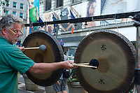Gong players perform in Herald Square in New York  as part of Mass Appeal during the Make Music New York Festival on Friday, June 21, 2012.  Make Music New York, in its 7th year, provides over 1,000 free concerts in public spaces on the first day of Summer. (© Frances M. Roberts)