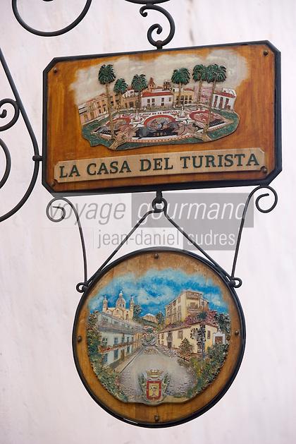 Europe/Espagne/Iles Canaries/Tenerife/ La Orotava:Cas Molina détail enseigne d'une boutique