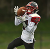 Joe Yarusso #11 of Plainedge fields a punt during a Nassau County Conference III varsity football game against host Roosevelt High School on Saturday, Oct. 13, 2018.