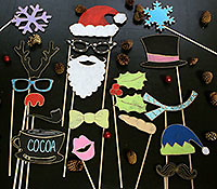 Make your holiday pictures fun and full of personality with Tummy Tickles Designs Wooden Christmas Photo Booth Props. These wooden chalkboard props are delivered undecorated and ready for you to personalize. They are durable yet lightweight props, which can be reused for future holiday celebrations.