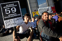 Mehmet Karinchi (right) one of the organisors of Kurdish hunger strikers outside the United Nations University in Omote Sando, Tokyo, Japan. Friday November 9th 2012. The strike lasted from 8am to 8pm to show solidarity with nearly 800 Kurdish political prisoners held in Turkey who have been on hunger strike for 2 months