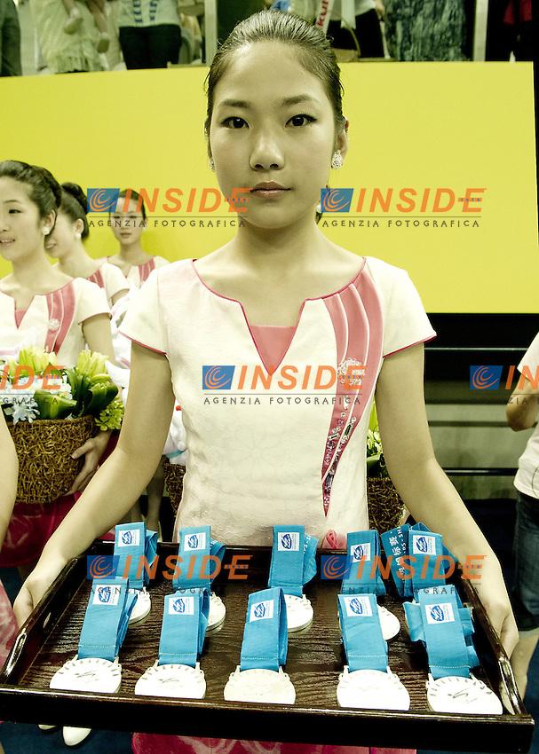 Shanghai ,  (CHN) 16-31 July 2001.XIV FINA Swimming World Championships.day 04.Team Tech.Final.Russia Gold medal.China Silver.Spain Bronze..Photo Insidefoto / Giorgio Scala