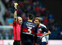 Referee Andy Davies shows the yellow card to Doncaster Rovers' Danny Andrew<br /> <br /> Photographer Alex Dodd/CameraSport<br /> <br /> The Emirates FA Cup Third Round - Preston North End v Doncaster Rovers - Sunday 6th January 2019 - Deepdale Stadium - Preston<br />  <br /> World Copyright &copy; 2019 CameraSport. All rights reserved. 43 Linden Ave. Countesthorpe. Leicester. England. LE8 5PG - Tel: +44 (0) 116 277 4147 - admin@camerasport.com - www.camerasport.com