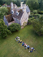 "Aerial ""THANKS"" at Twywell Manor House in North Hamptonshire, England."