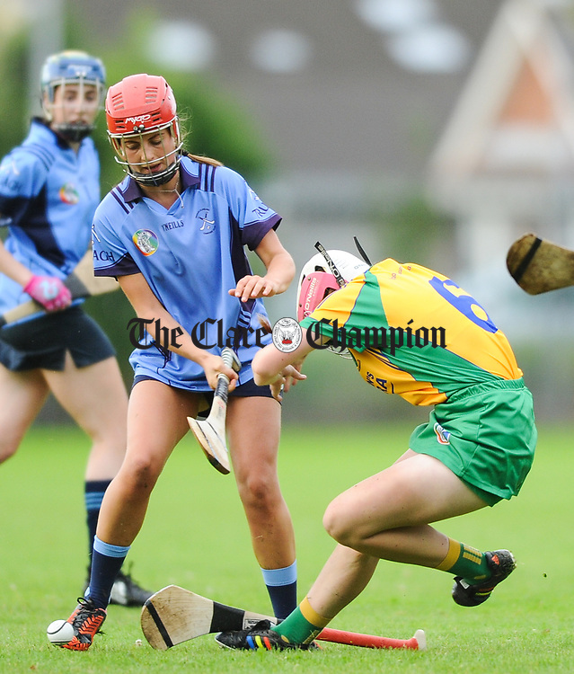 Kathleen Horgan of Truagh-Clonlara in action against Clare Hehir of Inagh-Kilnamona during their first round senior championship game in Shannon. Photograph by John Kelly