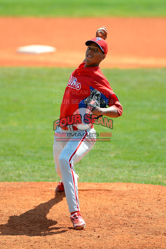 Philadelphia Phillies pitcher Ramon Oviedo (43) during a minor league Spring Training game against the Atlanta Braves at Al Lang Field on March 14, 2013 in St. Petersburg, Florida.  (Mike Janes/Four Seam Images)