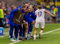 LE HAVRE,  - JUNE 20: Tobin Heath #17 celebrates her goal with the bench during a game between Sweden and USWNT at Stade Oceane on June 20, 2019 in Le Havre, France.