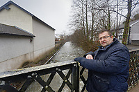 Pictured: Russell Cameron stands by Rhondda river in Porth. Wednesday 04 March 2020<br /> Re: Revisiting the flood affected areas in Pontypridd, Wales, UK.