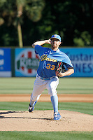 Myrtle Beach Pelicans pitcher Paul Blackburn (33) pitching during a game against the Potomac Nationals at Ticketreturn.com Field at Pelicans Ballpark on May 23, 2015 in Myrtle Beach, South Carolina.  Myrtle Beach defeated Potomac 7-3. (Robert Gurganus/Four Seam Images)