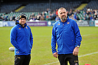 Bath Rugby Physiotherapist Cerian Perham and Kit Manager Steve Middleton look on. Bath Rugby Captain's Run on February 19, 2016 at the Recreation Ground in Bath, England. Photo by: Nick Auterac / Bath Rugby