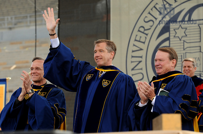 Brian Williams acknowledges the crowd after delivering the 2010 Commencement address to graduates at Notre Dame Stadium May 16, 2010.  ..Photo by Joe Raymond/University of Notre Dame
