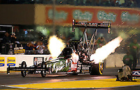 Jul. 26, 2013; Sonoma, CA, USA: NHRA top fuel dragster driver Terry McMillen during qualifying for the Sonoma Nationals at Sonoma Raceway. Mandatory Credit: Mark J. Rebilas-