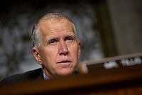 United States Senator Thom Tillis (Republican of North Carolina) listens to Vice Admiral Michael M. Gilday, United States Navy, during his confirmation hearing to be Admiral and Chief of Naval Operations at the Department of Defense on Capitol Hill in Washington D.C., U.S. on July 31, 2019. <br /> <br /> Credit: Stefani Reynolds / CNP/AdMedia