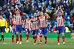 Atletico de Madrid´s Diego Godin, Juanfran, Gimenez and Gabi celebrate their victory at 2015/16 La Liga match between Real Madrid and Atletico de Madrid at Santiago Bernabeu stadium in Madrid, Spain. February 27, 2016. (ALTERPHOTOS/Victor Blanco)