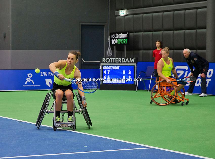 Rotterdam, Netherlands, December 19, 2015,  Topsport Centrum, Lotto NK Tennis, Wheelchair womans final: Marjolijn Buis (L) and Michaela Spaanstra (NED) <br /> Photo: Tennisimages/Henk Koster