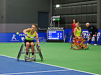Rotterdam, Netherlands, December 19, 2015,  Topsport Centrum, Lotto NK Tennis, Wheelchair womans final: Marjolijn Buis (L) and Michaela Spaanstra (NED) <br /> Photo: Tennisimages/Henk Koster