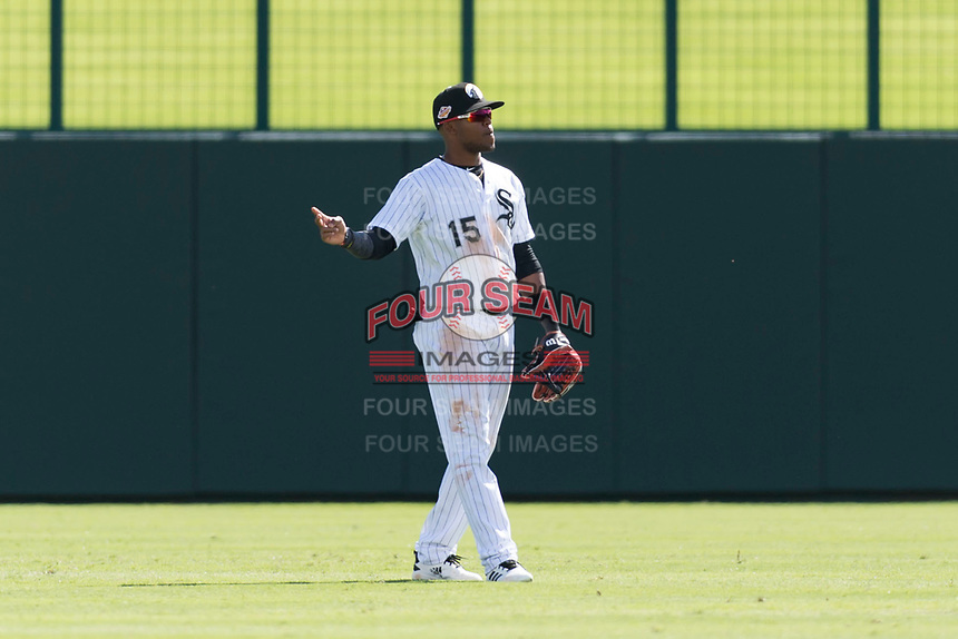 Glendale Desert Dogs center fielder Luis Alexander Basabe (15), of the Chicago White Sox organization, during an Arizona Fall League game against the Scottsdale Scorpions at Camelback Ranch on October 16, 2018 in Glendale, Arizona. Scottsdale defeated Glendale 6-1. (Zachary Lucy/Four Seam Images)