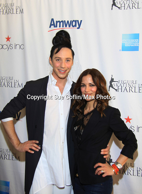 American Figure Skater Johnny Weir poses with All My Children's Rebecca Budig - The 2013 Skating with the Stars- a benefit gala for Figure Skating in Harlem on April 8, 2013 at Trump Wollman Rink, New York City, New York. (Photo by Sue Coflin/Max Photos)
