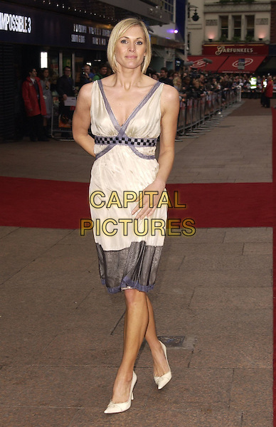 "JENNI FALCONER.""Mission Impossible 3"" UK Film Premiere - Arrivals, Odeon Leicester Square, London, UK. .April 25th 2006.Ref: CAN.full length jenny cream dress shoes grey gray trim.www.capitalpictures.com.sales@capitalpictures.com.©Capital Pictures"