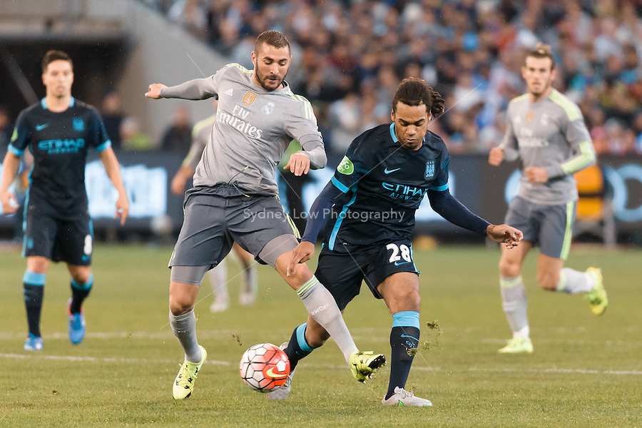 Melbourne, 24 July 2015 - Karim Benzema of Real Madrid protects the ball in game three of the International Champions Cup match between Manchester City and Real Madrid at the Melbourne Cricket Ground, Australia. Real Madrid def City 4-1. (Photo Sydney Low / AsteriskImages.com)