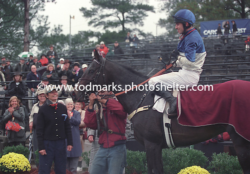 Trainer Janet Elliot beams at Flat Top and Rob Massey after their Colonial Cup win.