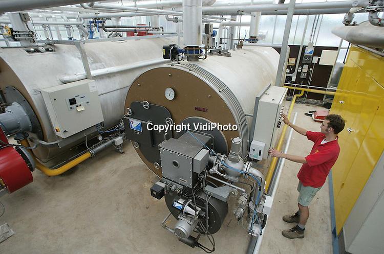 Foto: VidiPhoto..code: wk25G14..BEMMEL - Rene Jansen van begoniakwekerij Jansen-van Boxtel in het ketelhuis van het bedrijf.