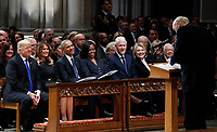 From left, President Donald Trump, first lady Melania Trump, former President Barack Obama, Michelle Obama, former President Bill Clinton, former Secretary of State Hillary Clinton, and former President Jimmy Carter listen as former Sen. Alan Simpson, R-Wyo., speaks during a State Funeral at the National Cathedral, Wednesday, Dec. 5, 2018, in Washington, for former President George H.W. Bush. In the second row are Vice President Mike Pence and Karen Pence.<br /> CAP/MPI/RS<br /> &copy;RS/MPI/Capital Pictures
