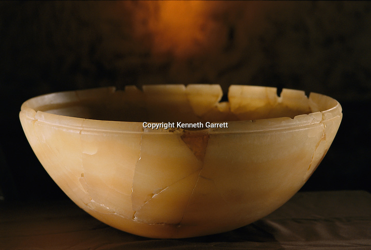 Translucent alabaster bowl with cartouche of King Khufu, Old Kingdom