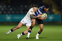 Anthony Watson of Bath Rugby is tackled. Aviva Premiership match, between Worcester Warriors and Bath Rugby on January 5, 2018 at Sixways Stadium in Worcester, England. Photo by: Patrick Khachfe / Onside Images