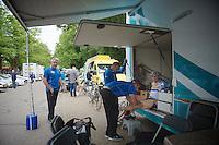 Bart Wellens (BEL/Telenet-Fidea) massaged before the start<br /> <br /> Ster ZLM Tour<br /> stage 3: Buchten-Buchten (190km)