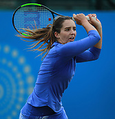 June 12th 2017,  Nottingham, England; WTA Aegon Nottingham Open Tennis Tournament day3; Laura Robson of Great Britain hits a backhand against Julia Boserup of the USA
